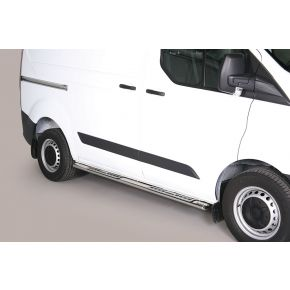 Ford Transit Custom Side Bars 2013+ SWB (Oval With Side Steps) Stainless Steel Chrome