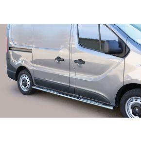 Renault Trafic Side Bars 2014+ SWB (Oval With Side Steps) Stainless Steel Chrome