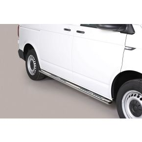 VW Transporter T6 Side Bars 2015+ SWB (Oval With Side Steps) Stainless Steel Chrome