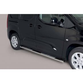 Vauxhall Combo Side Bars 2018+ MWB (Oval With Side Steps) Stainless Steel Chrome