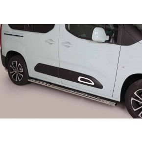 Citroen Berlingo Side Bars 2018+ MWB (Oval With Side Steps) Stainless Steel Chrome