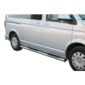 VW Transporter T5 Side Bars 2010+ (Round With Side Steps) Stainless Steel Chrome