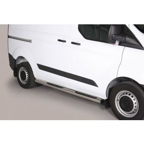 Ford Transit Custom Side Bars 2013+ SWB (Round With Side Steps) Stainless Steel Chrome