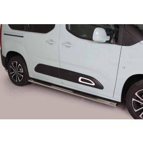 Citroen Berlingo Side Bars 2018+ MWB (Oval Side Steps) Stainless Steel Chrome