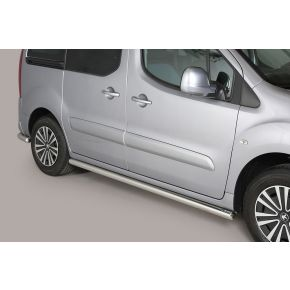 Peugeot Partner Side Bars 2008+ (Round) Stainless Steel Chrome