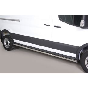 Ford Transit Side Bars 2014+ LWB High Roof (L3/H3) (Round) Stainless Steel Chrome