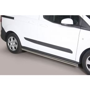 Ford Transit Courier Side Bars 2014+ (Round) Stainless Steel Chrome