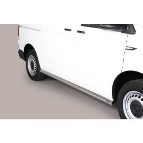 VW Transporter T6 Side Bars 2015+ SWB (Round) Stainless Steel Chrome