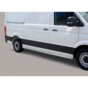 VW Crafter Side Bars 2017+ MWB (Round) Stainless Steel Chrome
