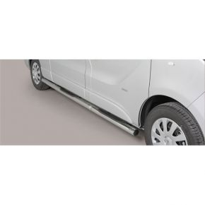 Renault Trafic Side Bars 2014+ LWB (Round With Side Steps) Stainless Steel Chrome